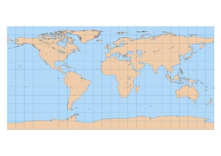Very high detailed map of the world in Equirectangular projection with graticule  Centered in Europe and Africa Vector