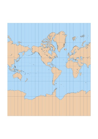 Very high detailed map of the world in Mercator projection with graticule  Centered in the American continent Vector