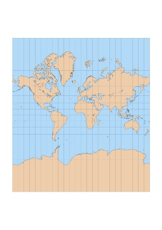 Mapa detallado de muy alta del mundo en proyección Mercator con retícula centrada en Europa y África Ilustración de vector