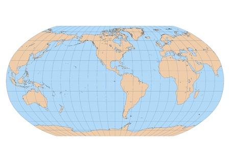 continente americano: Mapa detallado de muy alta del mundo en proyecci�n Robinson con ret�cula centrada en el Continente Americano