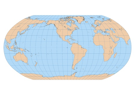 Very high detailed map of the world in Robinson projection with graticule  Centered in the American Continent Vector