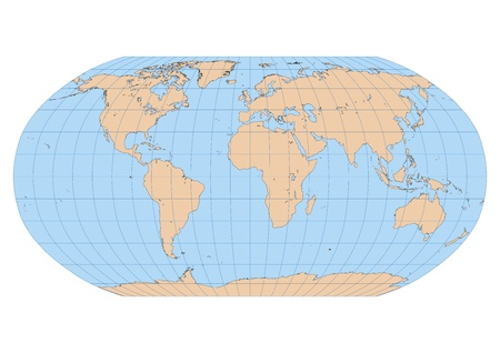 Very high detailed map of the world in Robinson projection with graticule  Centered in Europe and Africa Vector