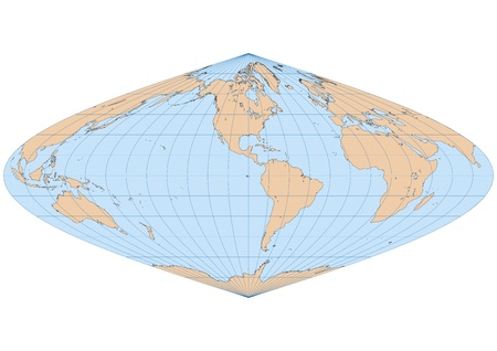 sinusoidal: Very high detailed map of the world in Sinusoidal projection with graticule  Centered in the American continent Illustration