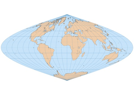 Very high detailed map of the world in Sinusoidal projection with graticule  Centered in Europe and Africa Vector