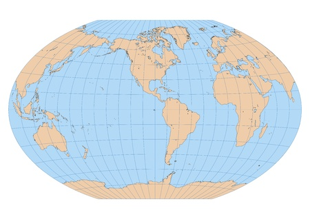 Very high detailed map of the world in Winkel Tripel projection with graticule  Centered in the American continent Stock Vector - 17689843