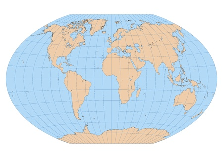 Very high detailed map of the world in Winkel Tripel projection with graticule  Centered in Europe and Africa Иллюстрация