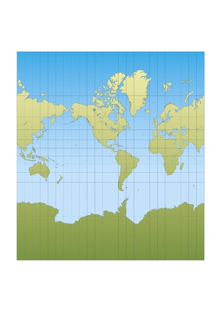 Map of the world centered in America. Mercator projection Vector
