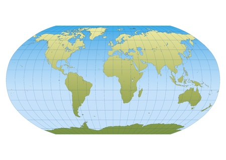 Map of the world in Robinson projection with graticule  Centered in Europe and Africa Vector