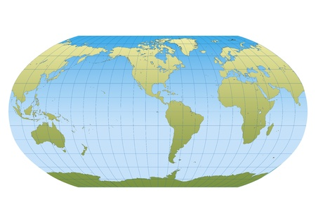 Map of the world in Robinson projection with graticule  Centered in the American Continent Vector