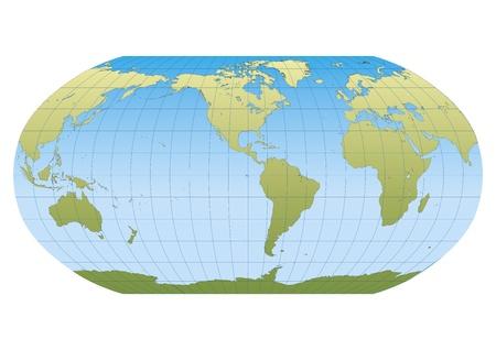 Mapa del mundo en proyección Robinson con retícula centrada en el Continente Americano