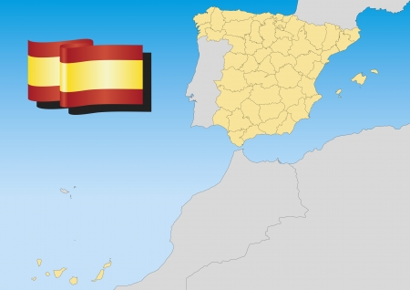 Map of spain with provinces and islands. Lambert projection Vector