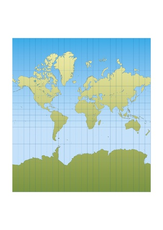 Map of the world centered in Europe and Africa. mercator projection Vector