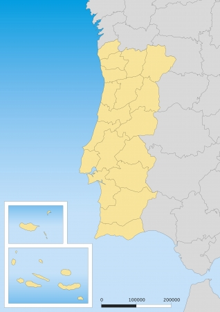 portugese: Map of Portugal with islands. Scale 1:3000000 UTM projection