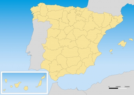 Map of spain with provinces and islands. Scale 1:5000000 UTM projection