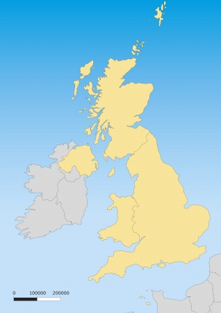 Map of United Kingdom with islands. Scale 1:4500000 Vector