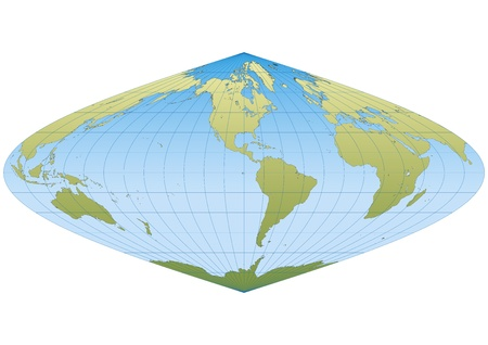 graticule: Map of the world in Sinusoidal projection with graticule. Centered in America