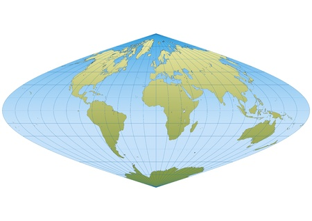 Map of the world in Sinusoidal projection with graticule. Centered in Europe and Africa Vector