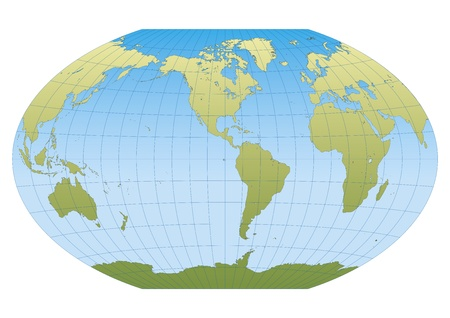 Map of the world in Winkel Tripel projection with graticule. Centered in the American continent Vector