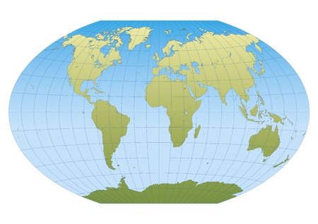 Map of the world in Winkel Tripel projection with graticule. Centered in Europe and Africa Vector