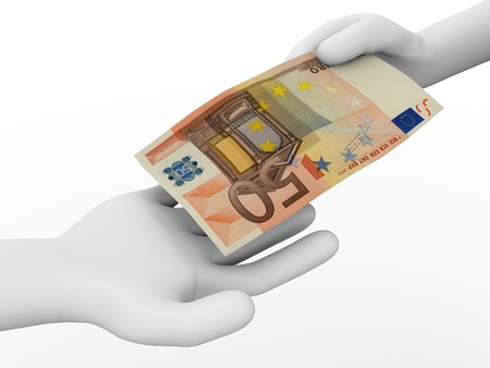 pay bills: A person is making a payment with a 50 euro bill