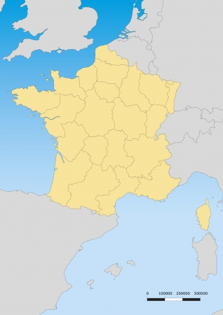 Vector map of France with regions. Escale 1:60000000 Lambert projection Vector
