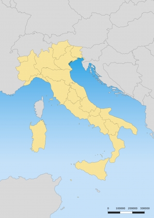 Map of Italy with islands. Escale 1:6000000 UTM Projection Vector