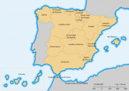 andalucia: Map of Spain with islands. Autonomous communities. Escale 1:5500000. UTM projection
