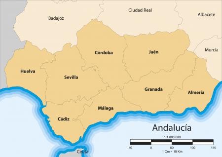 kaart van de autonome gemeenschap van Andalusië Spanje Vector Illustratie