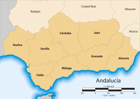map of the autonomous community of Andalusia  Spain  Vector
