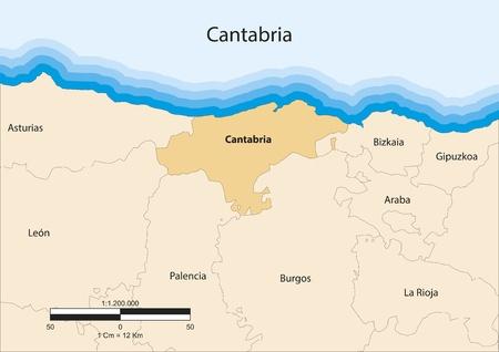 map of the autonomous community of Cantabria  Spain  Vector