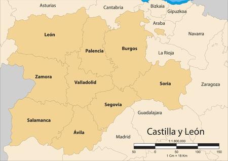 map of the autonomous community of Castile and Leon  Castilla y LeÃ,³,n   Spain