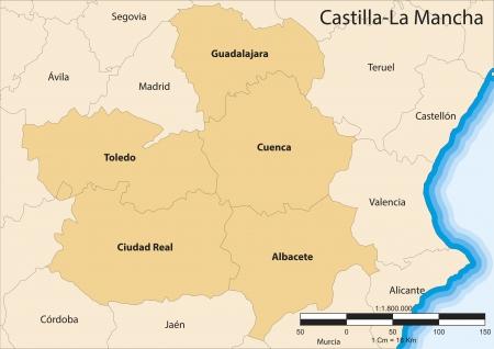map of the autonomous community of Castile La Mancha  Castilla La Mancha   Spain  Vector