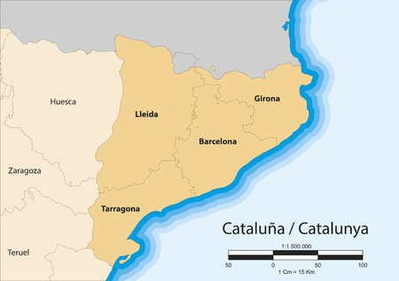 map of the autonomous community of Catalonia  CataluÃ,±,a CataluÃ,±,a   Spain  Иллюстрация