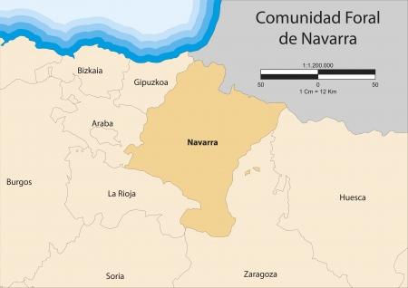 map of Chartered Community of Navarre  Comunidad Foral de Navarra   Spain  Vector