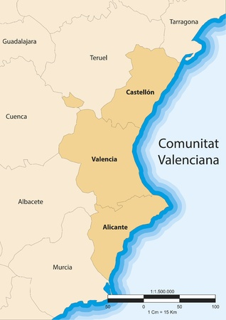 provinces: map of the Valencian community  Comunitat Valenciana   Spain  Illustration