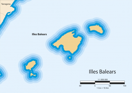 Vector map of the autonomous community of Balearic Islands  Illes Balears  Spain  Vector