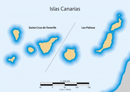 canary islands: map of the autonomous community of Canary Islands  Islas Canarias   Spain  Illustration