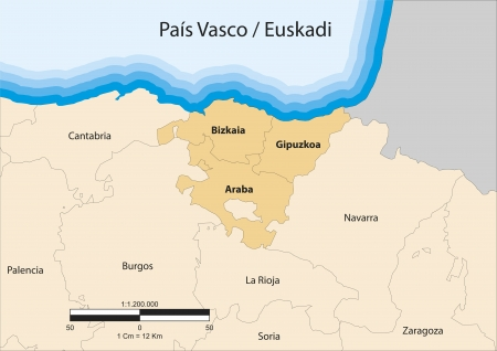 provinces: map of the autonomous community of Basque Country  Pa&Atilde,&shy,s Vasco  Spain
