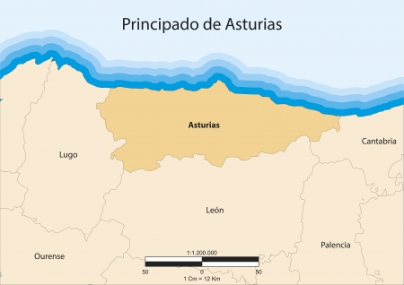 principality: map of Principality of Asturias  Principado de Asturias  Spain  Illustration