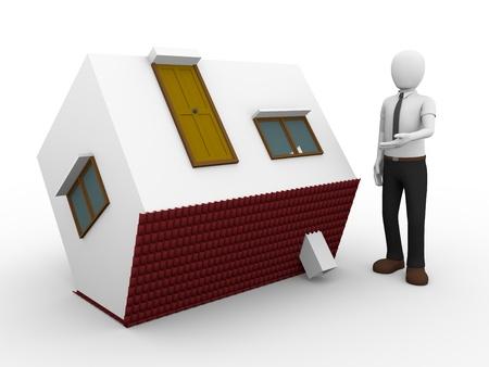 investment real state: 3d ilustración de un hombre que presenta una volteado casa