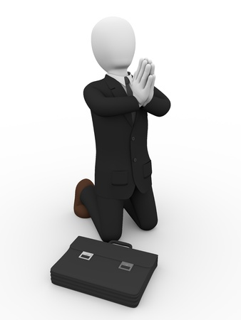 supplicate: A kneelling business man is praying  conceptual illustration