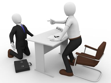 man scolding: the angry big boss is scolding to a businessman