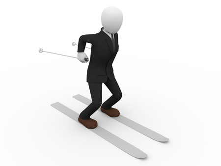 Illustration of a well dressed businessman with skis  Leisure concept illustration