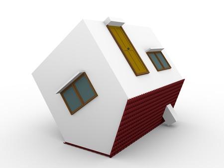 investment real state: 3d ilustración de un concepto de casa volcó inmobiliaria