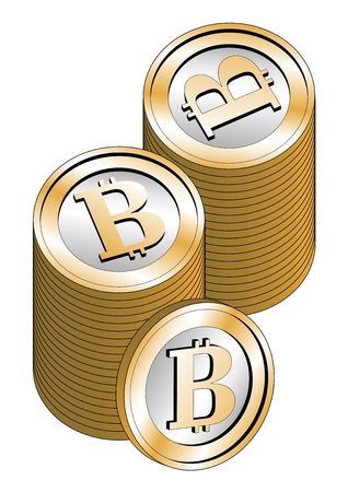 Some stacked bitcoins isolated over a white background. New virtual money for internet trading and business Stock Vector - 18847735