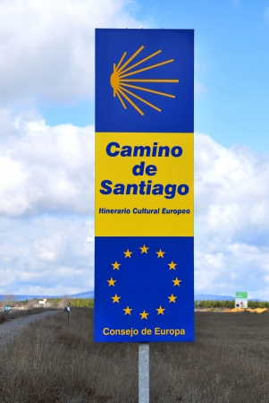 itinerary: Road sign in Camino de Santiago, european cultural itinerary. Pilgrimage route to the Cathedral of Santiago de Compostela Stock Photo