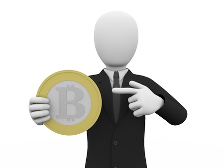 A man is holding and pointing a bitcoin. Online business concept photo