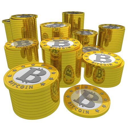 Shiny bitcoins stacked and isolated over a white background photo