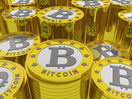 bitcoins background. Bitcoin is a new virtual money for internet trading and business Archivio Fotografico