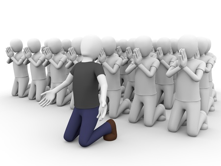 supplication: A big group of people praying together. Stock Photo